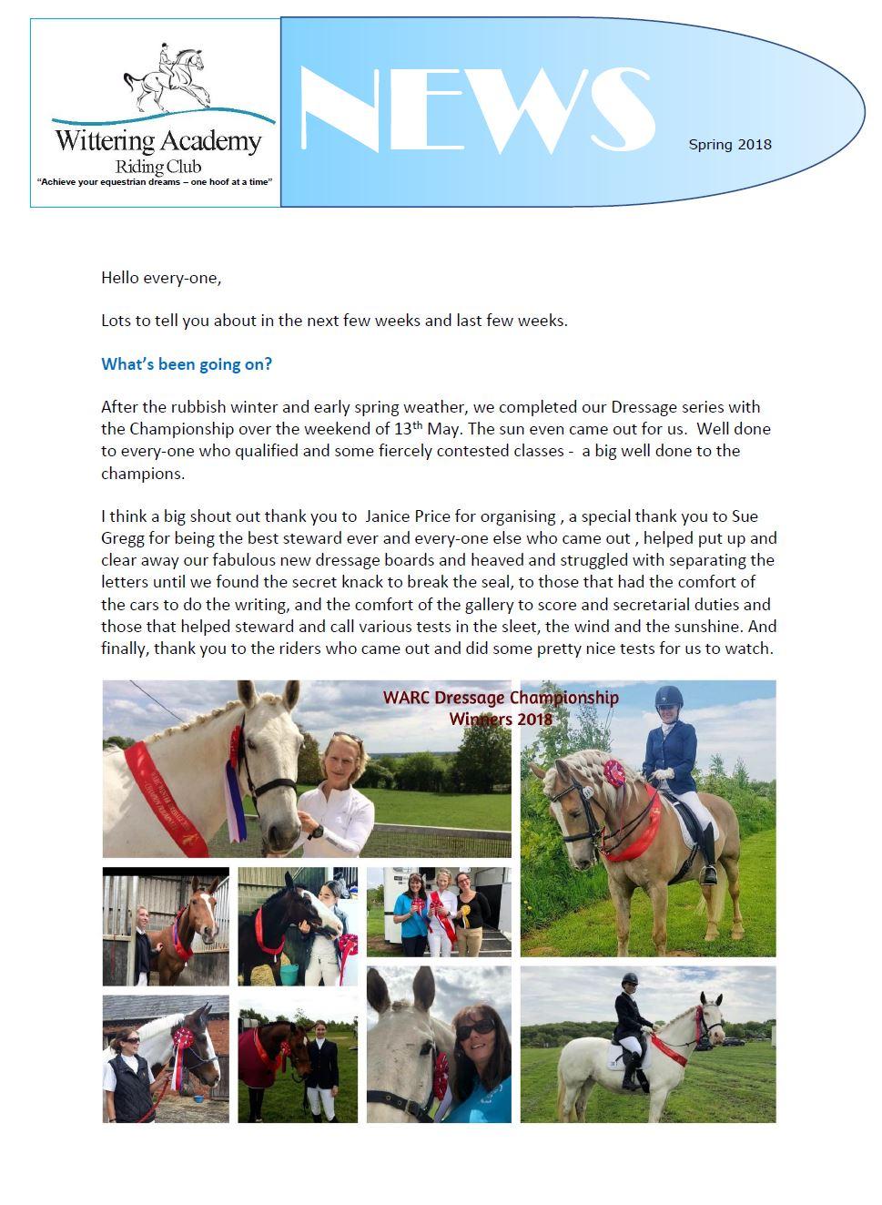 WARC Spring Newsletter 2018